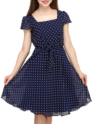 blue Polka dot print A line dress