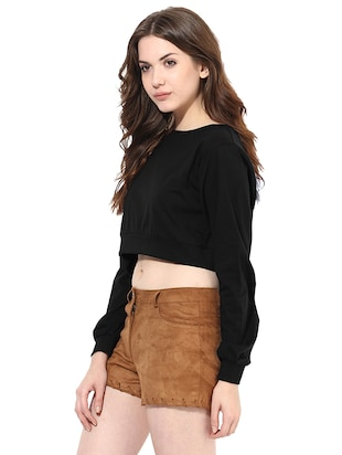 long sleeved boat neck crop top - 11013031 - Standard Image - 2