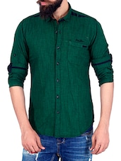 dark green cotton casual shirt -  online shopping for casual shirts