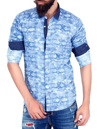 sky blue cotton casual shirt -  online shopping for casual shirts