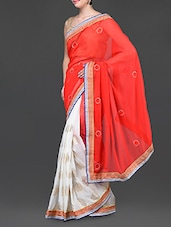 Orange And White Embroidered Poly Georgette Saree - Jindal Saree