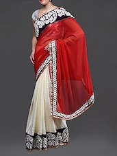 Red And Cream Saree With Embroidered Border - Jindal Saree