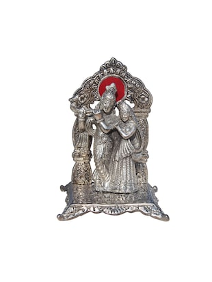 Radha Krishna in Metal playing flute with Arch at back