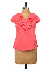 Pink Polyester Ruffle Top - Change360��