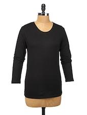 Black Cotton Lycra Full-sleeve Top - Change360��