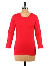 Red Cotton Lycra Full-sleeve Top - Change360��