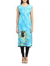 Sky Blue Printed Sleeveless Cotton Kurta - Jainish