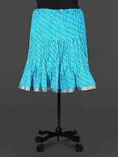 Blue Leheriya Print Cotton Skirt - Rangsthali
