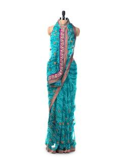 Aqua Green Bandhani Saree In Georgette With Brocade Applique - Saboo