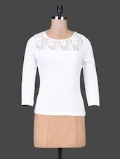 Lace Yoke Solid White Cotton Top - Sera