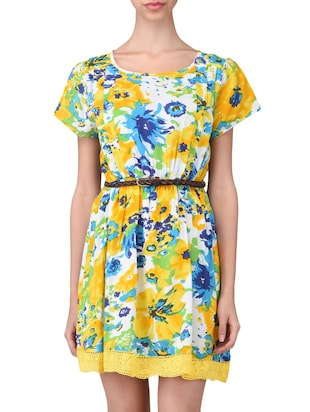 multicolored rayon floral printed dress