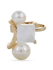 Trendy Costume White Beautiful Double Pearl Ear Cuff For Single Ear - By