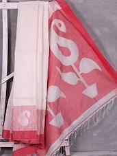White Paisley Bordered Handloom Cotton Silk Saree - Ruplekha Fashion