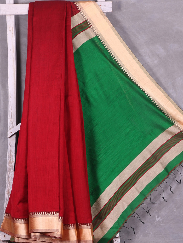 Contrast Green Pallu Red Cotton Silk Saree - Ruplekha Fashion