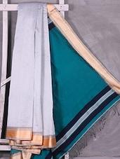 Contrast Green Pallu White Cotton Silk Saree - Ruplekha Fashion