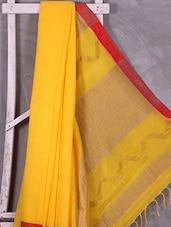Yellow Bordered Handloom Resham Silk Saree - Ruplekha Fashion