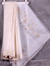 Classic Off- White Zari Woven Tussar Silk Saree - Ruplekha Fashion