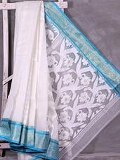 White Bordered Jacquard Pallu Resham Silk Saree - Ruplekha Fashion