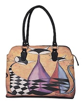 Multicolor Kitty Printed Laptop Handbag - AVX