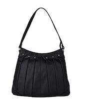 Pleated Black Leatherette Shoulder Bag - AVX