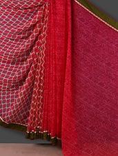 Maroon And Orange Printed Georgette Saree - Rajtex Fabrics