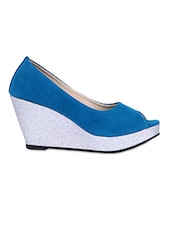 Peep Toe Solid Blue Wedges - Fleetz