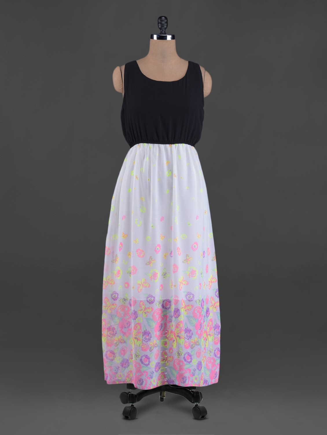 Flowers & Butterflies Printed Round Neck Maxi Dress - G&M Collections