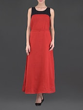 Red Sleeveless Maxi Dress - Eyelet