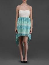 Off-shoulder Printed Asymmetric Dress - Eyelet