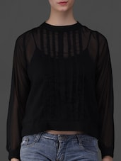 Black Long Sleeves Sheer Top - Eyelet