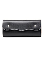 Solid Black Leatherette Wallet - Walletsnbags