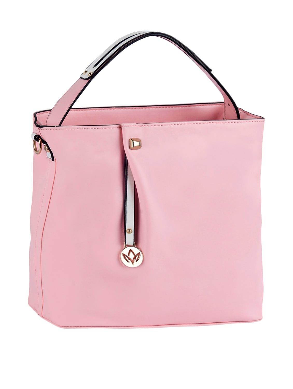 Plain Solid Pink Leatherette Handbag - Mod'acc