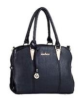 Plain Solid Black Leatherette Handbag - Mod'acc
