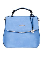 Plain Solid Blue Leatherette Handbag - Mod'acc