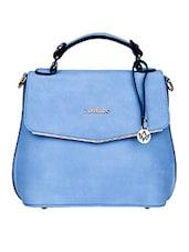 Plain Solid Blue Leatherette Handbag - Mod'acc
