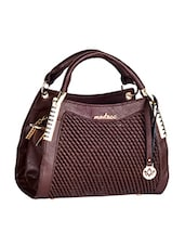 Textured Front Brown Leatherette Handbag - Mod'acc