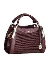 Textured Front Brown Leatherette Handbag - Mod'acc