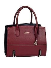 Leatherette Plain Solid Brown Handbag - Mod'acc
