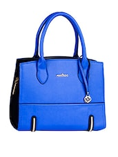 Leatherette Plain Solid Blue Handbag - Mod'acc