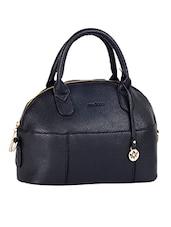 Solid Black Leatherette Handbag - Mod'acc