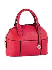 Solid Red Leatherette Handbag - Mod'acc