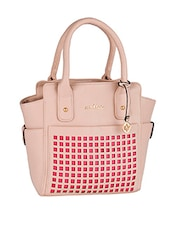 Cut Work Pink Leatherette Handbag - Mod'acc