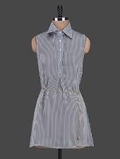 Monochrome Stripe Shirt Collar Dress - Trendybella