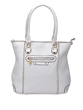 White Front Zipper Leatherette Handbag - Coash