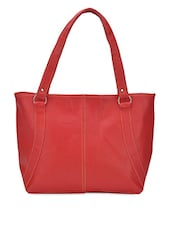 Solid Red Leatherette Handbag - Coash