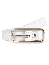 Solid White Leatherette Belt With Metal Buckle - Scarleti