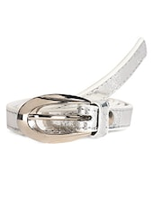 Silver Textured Leatherette Belt With Metal Buckle - Scarleti
