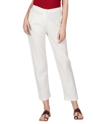 off white cotton peg  trousers - 11090006 - Standard Image - 2