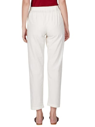 off white cotton peg  trousers - 11090006 - Standard Image - 5
