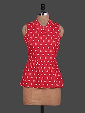 Polka Dot Printed Sleeveless Peplum Top - URBAN RELIGION